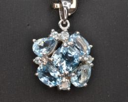 Natural Blue Topaz CZ, Silver Pendant