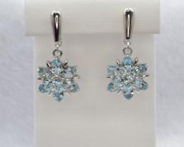 Natural Blue Topaz Silver Earrings