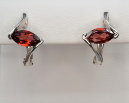 Natural Rhodolite Garnet Silver Earrings
