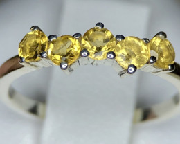 10ct Natural Citrine in 925 Sterling Silver Ring.