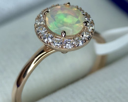 10ct Rose Gold Silver 925 Gold Platted Opal With CZ Ring.