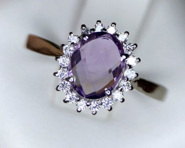 14.20ct Natural Amethyst in 925 Sterling Silver Ring.