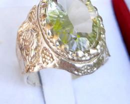 42 carats oval green prasiolite 925 Silver Ring, 16x12x8mm.