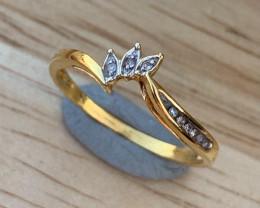 9K Gold Natural Diamonds Ring TCW 0.10.