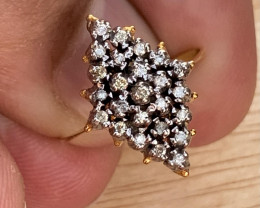 Natural Diamond Ring 18k gold and silver palladium coated TCW  0.76.
