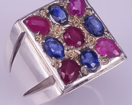 Natural Ruby And Heated Sapphire  Ring.