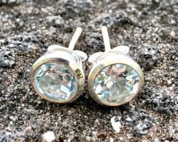 8.70ct Natural Swiss Blue Topaz in 925 Sterling Silver Earrings.