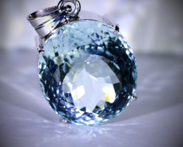 Aquamarine 56.00ct Solid 18K White Gold Pendant--For the Price of 1 Bitcoin