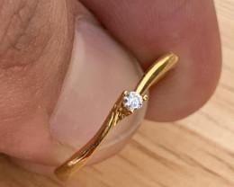 10K Gold Natural Diamond Ring TCW 0.06.