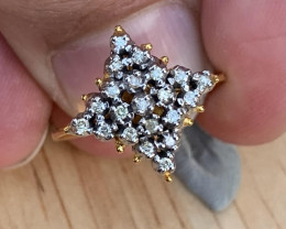 Natural Diamonds Ring Gold + silver Palladium coated. TCW 0.84