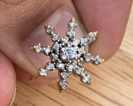 Natural Diamonds Ring Gold + silver Palladium coated. TCW 0.89.
