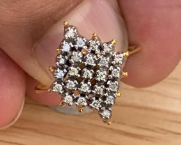 Natural Diamonds Ring Gold + silver Palladium coated. TCW 0.75.