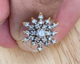 Natural Diamonds Ring Gold + silver Palladium coated. TCW 0.90