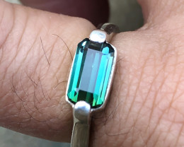 24 Ct Natural Blueish Green Transparent Tourmaline Silver Ring