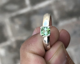 17.60 Ct Natural Green Transparent Tourmaline Gem Ring Solid Silver