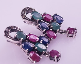 Natural Ruby With Emerald And Sapphire Earring