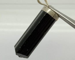 Natural Black Tourmaline Silver Pendant
