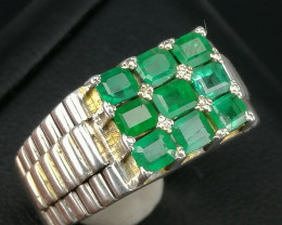 Natural Emerald Rolex Design Handmade Ring.