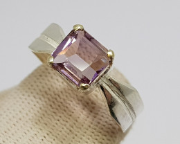 Natural Bio Color Ametrine 20.60 Carats Silver Ring