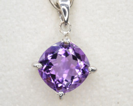 Natural Amethyst Silver Pendant