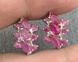 Natural Ruby Ear Studs.