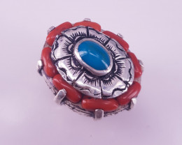 Hand Made Natural Turquise With Coral Ring