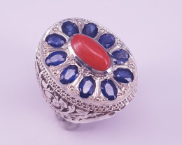 Natural Coral With Sapphire Ring