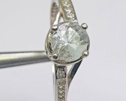 9.15 carat sea blue aquamarine 925  silver ring.