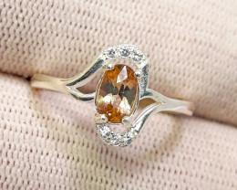 9.75 carat rare brown axinite 925  silver ring.
