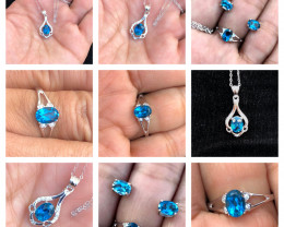 24.30 Ct Natural Blue Topaz Gemstone  Ring, Earrings and Necklaces