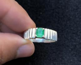 29.10 Ct Natural Green Transparent Panjsheer Emerald Ring