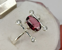 Natural Rhodolite Garnet And CZ New Design Ring.
