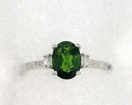 Chrome Diopside and Diamond Ring 1.35tcw.