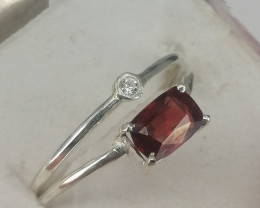Natural Rhodolite Garnet And CZ Ring.
