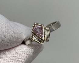 GIA Certified Untreated Fancy Pink Purple Diamond Art Deco Style Platinum R