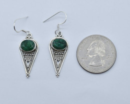EMERALD EARRINGS 925 STERLING SILVER NATURAL GEMSTONE E53