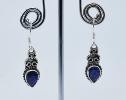 BLUE SAPPHIRE EARRINGS 925 STERLING SILVER NATURAL GEMSTONE E55