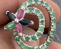 Natural Emerald,Sapphire, Ruby RIng.