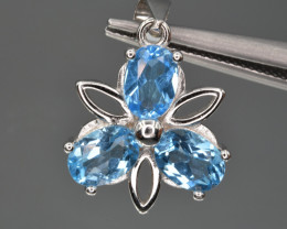 Natural Topaz  and 925 Silver Pendant with Chain