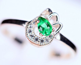 Natural transparent Precious top highest Green Emerald ,CZ 925 Silver Ring#