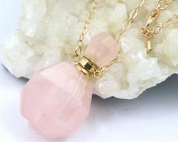 Lovers Rose Quartz Gemstone Bottle Necklace  AHA 172