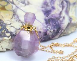 Natural Amethyst Gemstone Bottle Necklace  AHA 180