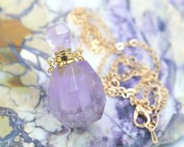 Natural Amethyst Gemstone Bottle Necklace  AHA 181