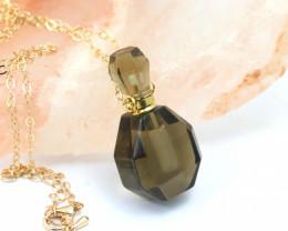 Natural Smokey Quartz Gemstone Bottle Necklace  AHA 186