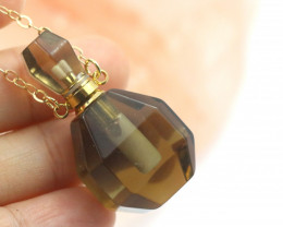 Natural Smokey Quartz Gemstone Bottle Necklace  AHA 187