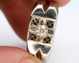 35 Ct  Silver Ring  0.14 ct Natural White Diamond~