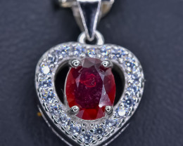 14.74 Crt Natural Composite Ruby 925 Sterling  Silver Pendant