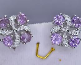 26.95 Crt Natural Amethyst 925 Sterling Silver Earrings