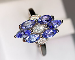 Natural several Tanzanite ,CZ 925 Silver Ring