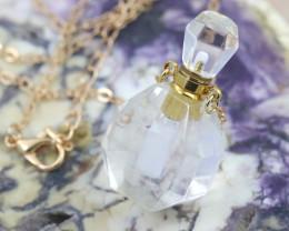 Natural Crystal Quartz Gemstone Bottle Necklace  AHA 198